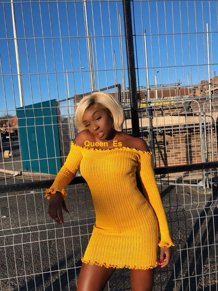 8f81e832b6a2 Black women in yellow 💛🌼🌞 off the shoulder dress yellow colored hair  blonde platinum hair silver grey hair baddie dark skin chocolate nails  acrylics
