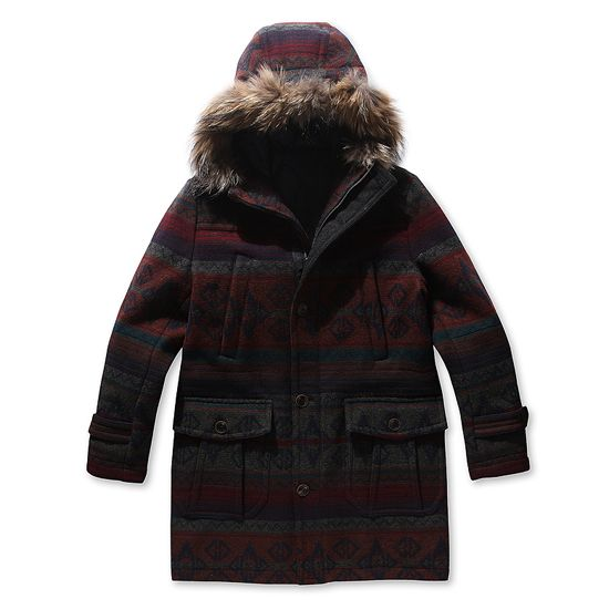 [Series] ethnic pattern Raccoon fur hood coat