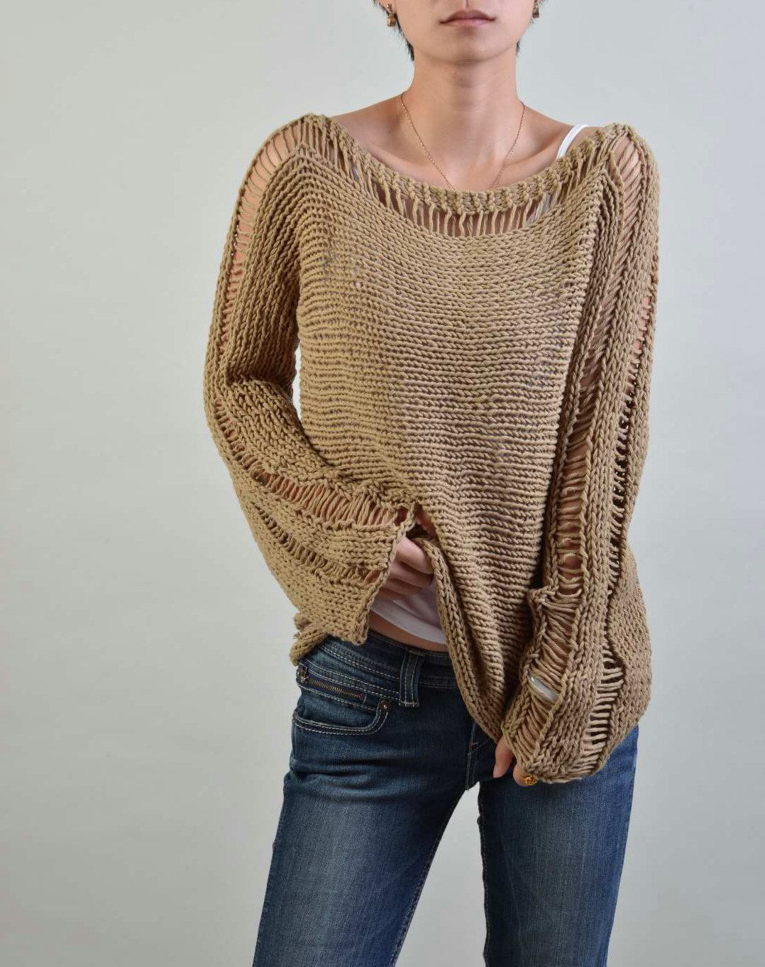 Hand Knit Woman Sweater Eco Cotton sweater in Wheat by MaxMelody ...