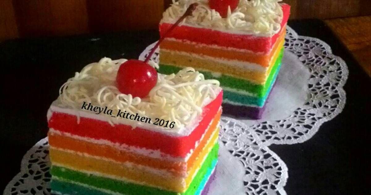 Resep Rainbow Cake Kukus Ny Liem Super Lembut Oleh Kheyla S Kitchen Resep Kue Pelangi Kue Gulung Makanan