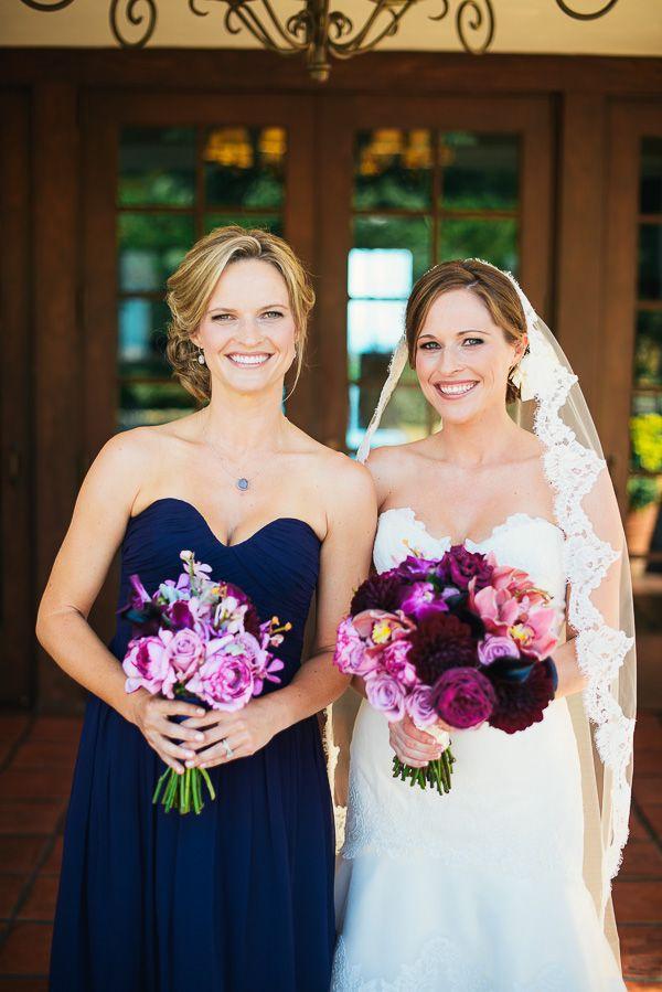 Navy Strapless Bridesmaids Dress   Midnight blue, Flower and Brides