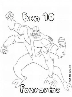 Printable Ben 10 characters alien fourarms coloring pages for kids