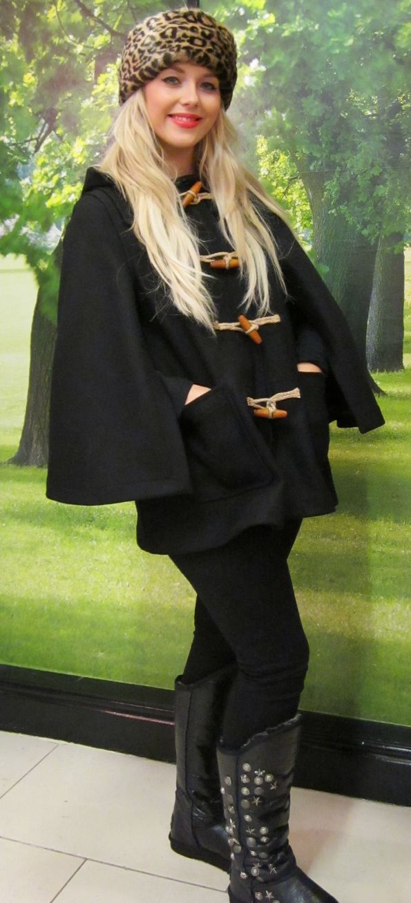 Boudette Melissa works the Winter cape at Boudoir Boutique