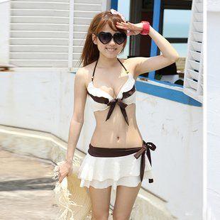 Amazon.co.jp: 【Pichi】 レディース 水着 3点セット スカート ビキニ ブラウン/白: 服&ファッション小物通販