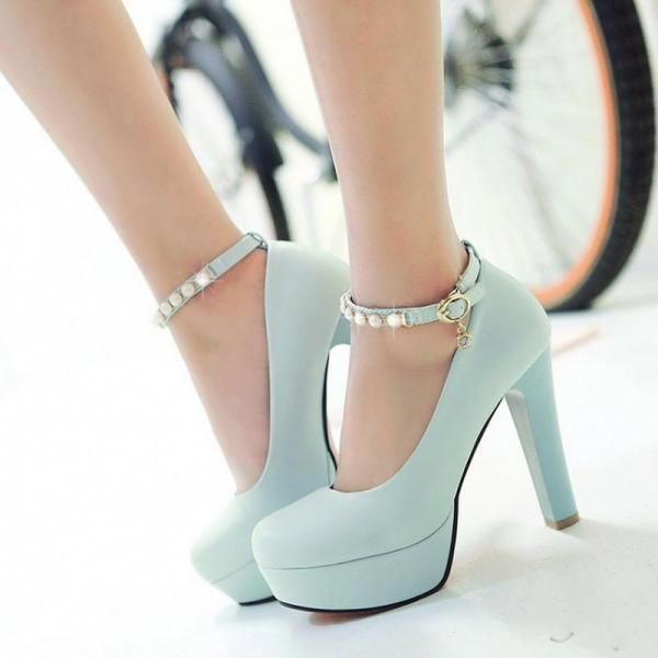 1272895e56472 Classy Blue Pearl Beaded Ankle Strap High Heels Fashion Shoes on Luulla  #Platformpumps