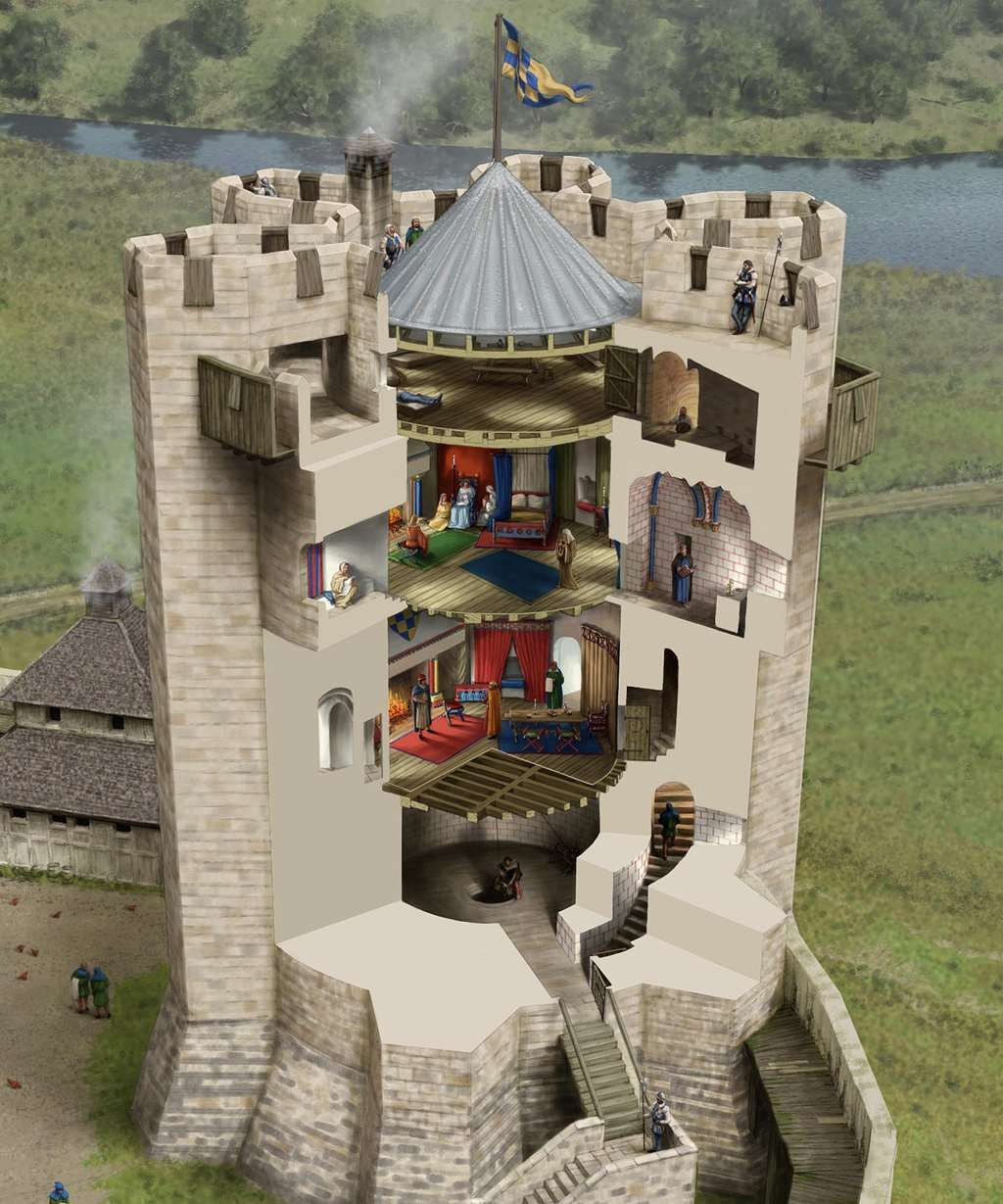 A cutaway reconstruction drawing of the keep in about 1180 ...