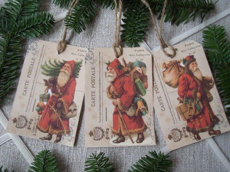Geschenkanhänger - 6 Tags Old SANTA Anhänger French Vintage Nikolaus - ein Designerstück von Rosemerry bei DaWanda