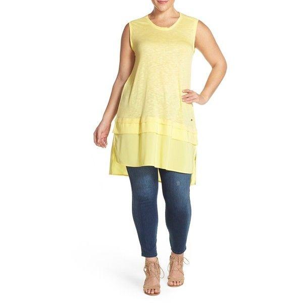 b94bc0cfc55 Plus Size Women s Melissa Mccarthy Seven7 Chiffon Contrast Jersey Tank  ( 69) ❤ liked on Polyvore featuring plus size women s fashion