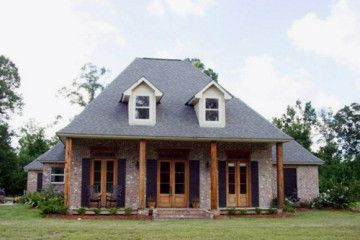 Acadian style house with a big front porch home for Big front porch house plans
