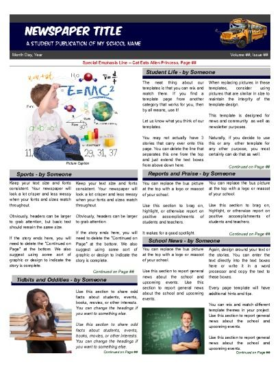 School Front Page 4 Column Education Student Newspaper