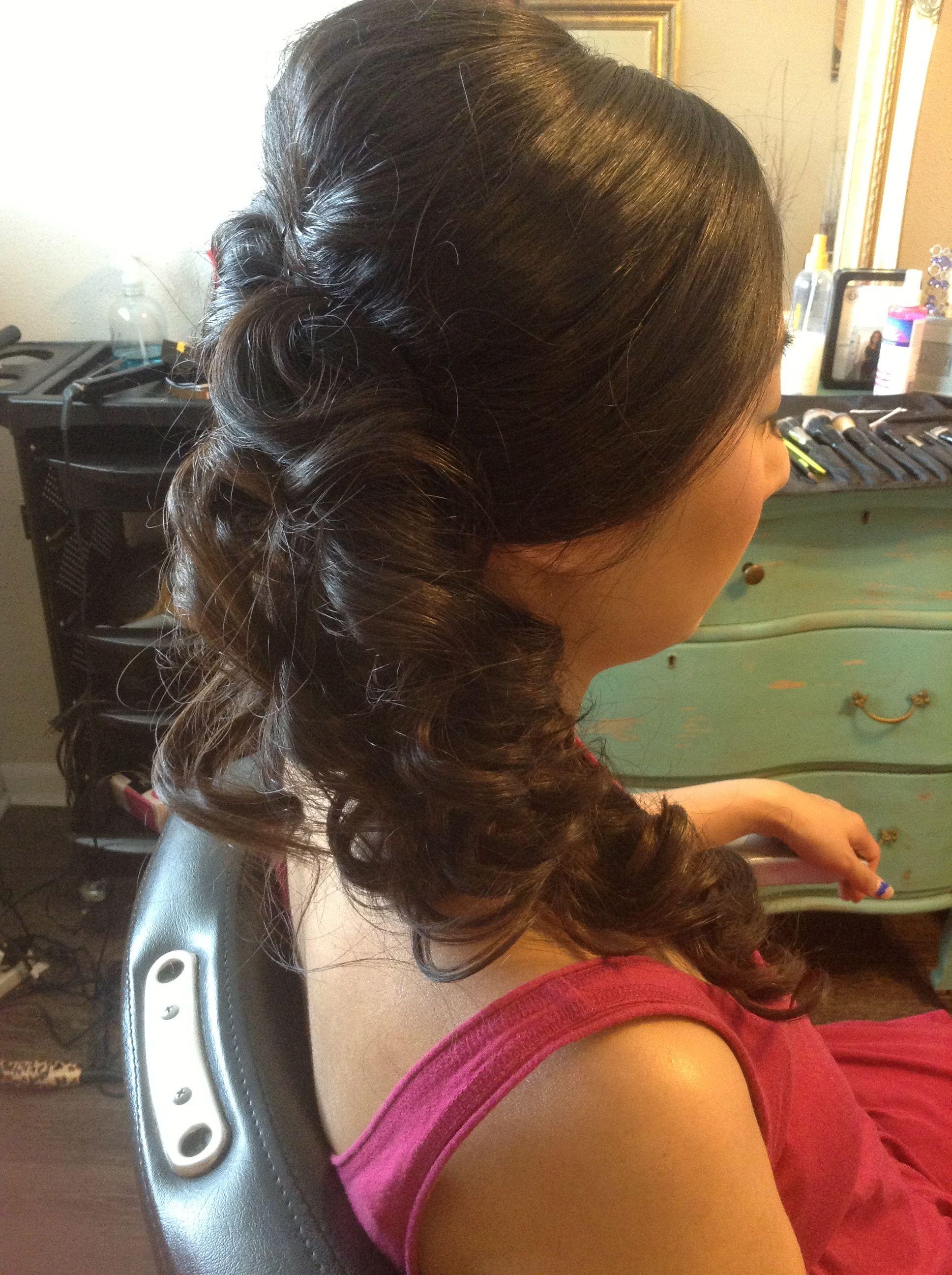 Side ponytail updo austin wedding hair and makeup austin wedding