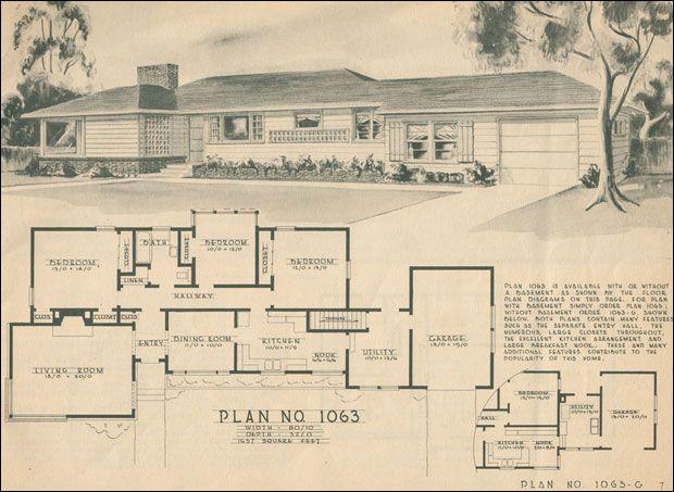 Mid Century Ranch Style Rambler Home Building Plan Service