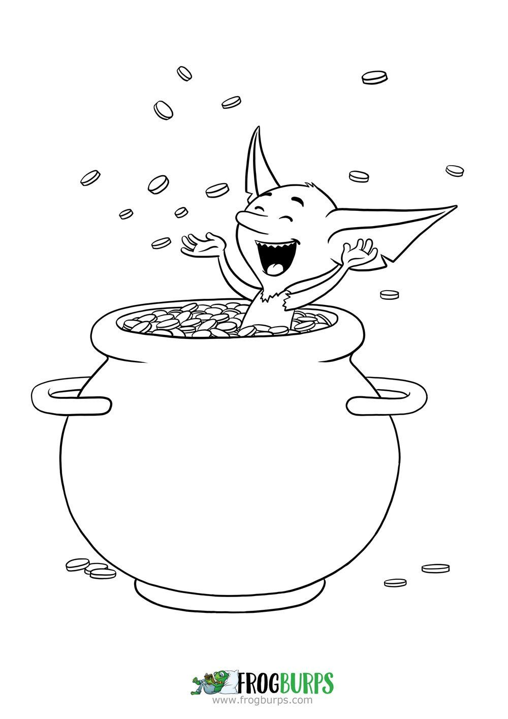 Goblin and Pig - Pot of Gold | Coloring Page | Frogburps Coloring ...