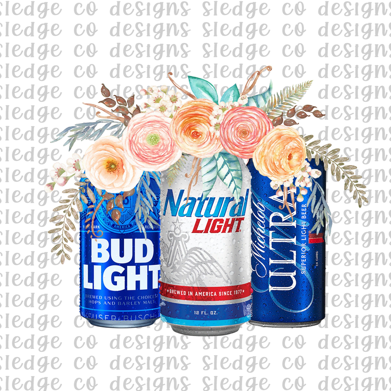Floral Beer Cans Png File Natural Light Ultra Bud Light Sublimation File Instant Download Dtg Printing Boho Flowers Beer By Polar Bottle Bud Light Beer