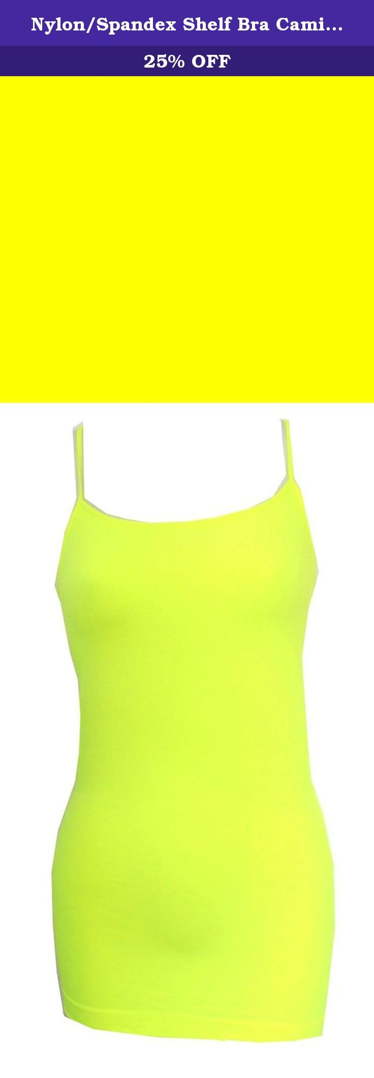 Nylon/Spandex Shelf Bra Cami-NeonYellow-L. Nylon/Spandex Shelf Bra Camisole with adjustable spaghetti straps. Wear for lingerie, swimwear or sportswear. Comfy fabric with great fit. Longer length to wear out layered or alone, or tuck in. Great as a tankini top.