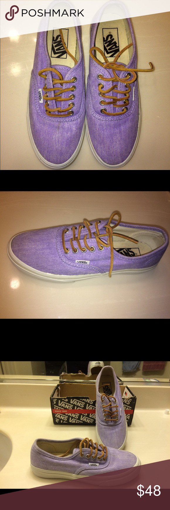 Vans shoes Very cute violet vans! (Authentic slim) worn a few times. Open to offers :) Women size 6.0... Men's size 4!! Vans Shoes Sneakers