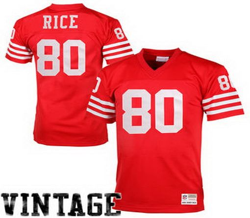 4250017ab90 San Francisco 49ers  80 Jerry Rice Mitchell Ness Scarlet Retired Player  Vintage Replica Jersey