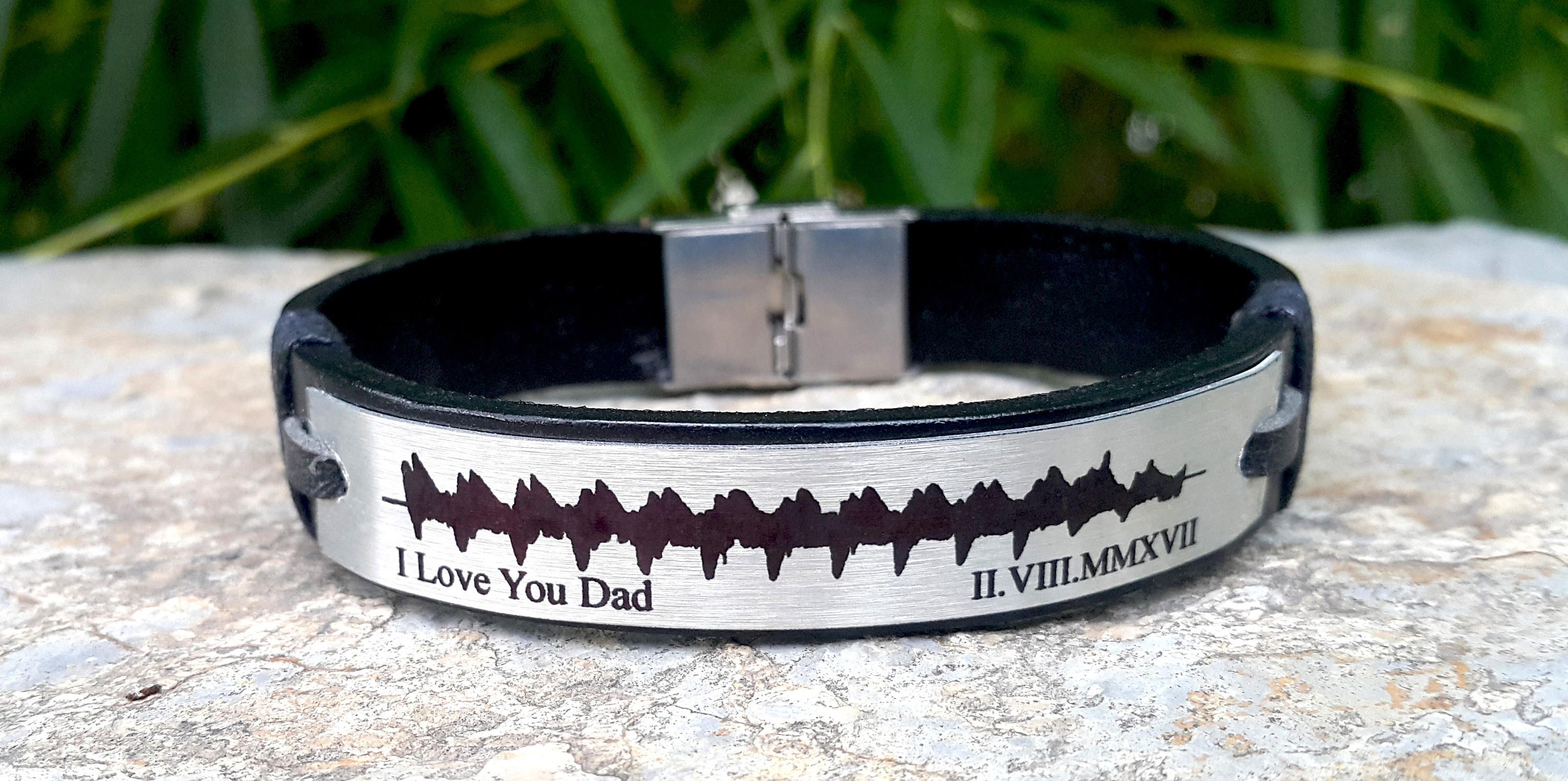 Actual Heartbeat Bracelet New Born Memorial Dad Gift Mom Custom Soundwave Leather Pregnancy Announcement