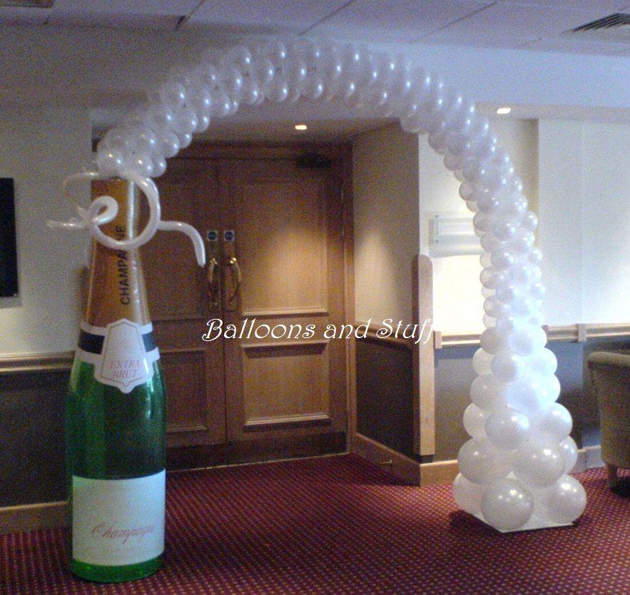 Champagne bottle balloon arch julia pinterest for Champagne balloon wall