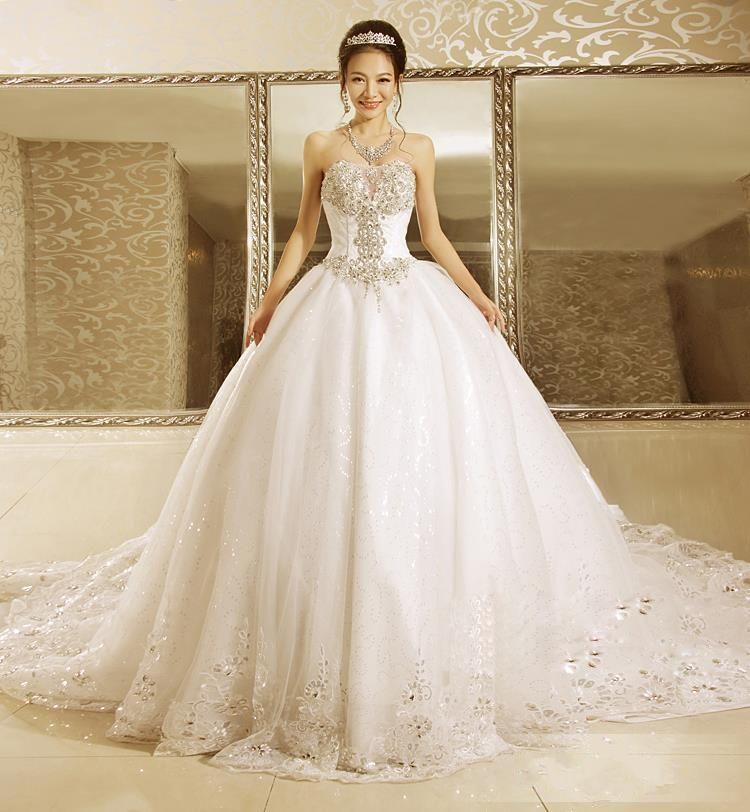 Hot sale sparkly princess wedding dress ball gown long for Very sparkly wedding dresses