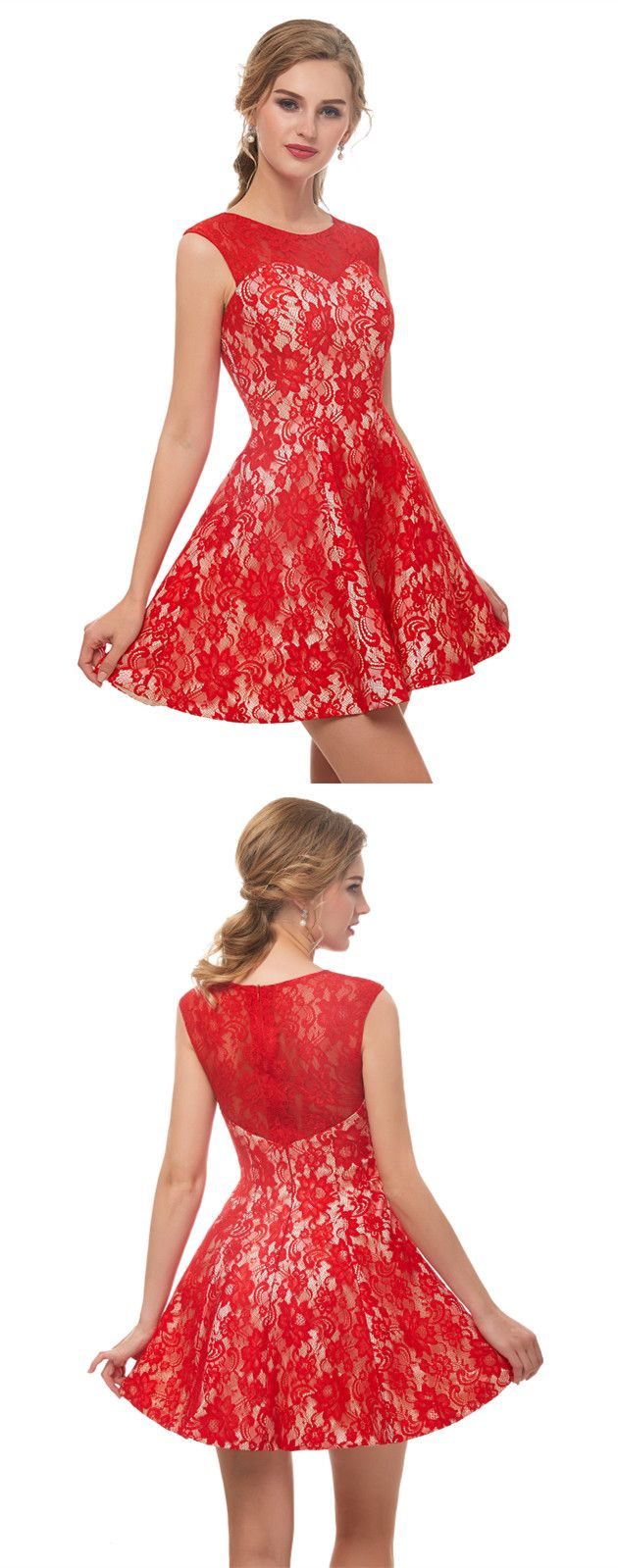 Classic sleeveless red lace prom dress prom dresses