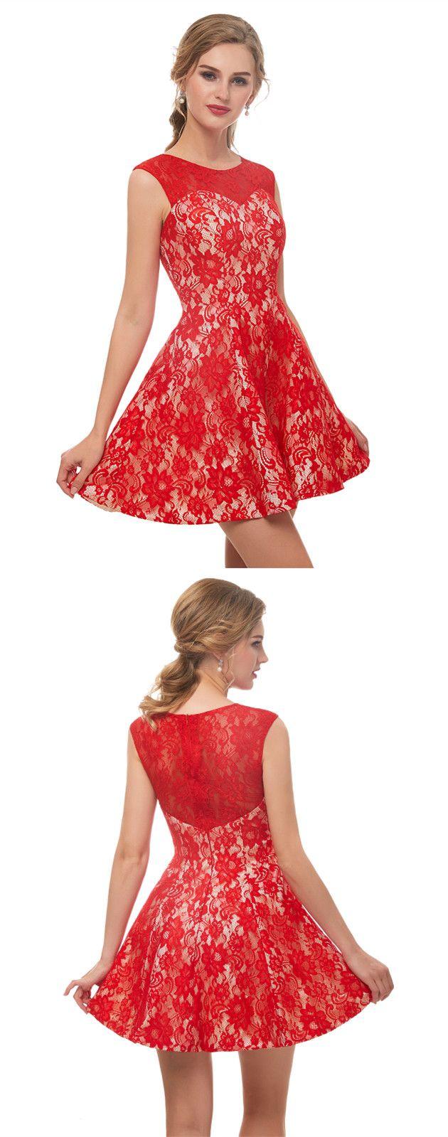 Classic sleeveless red lace prom dress k hoco dresses