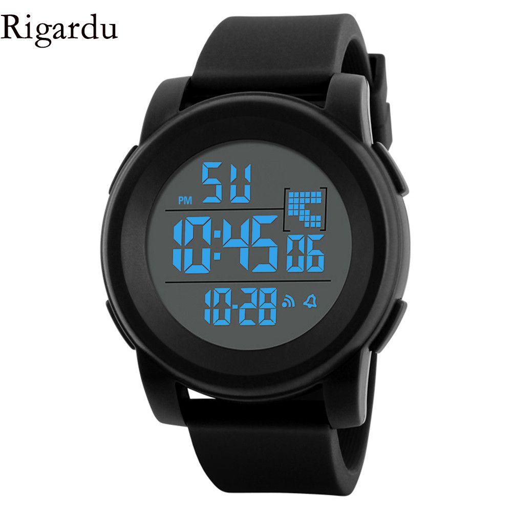 Rigardu Sport Man Watch Fashion Waterproof Men Watch Led Digital Alarm Date Rubber Sport Male Wrist Mens Sport Watches Digital Sport Watches Mens Sport Watches