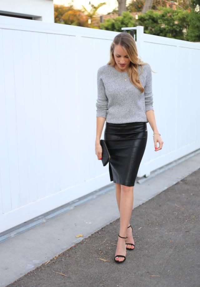 47a762bc2 15 Ways to Wear a Leather Pencil Skirt in 2019 | Outfits to try ...