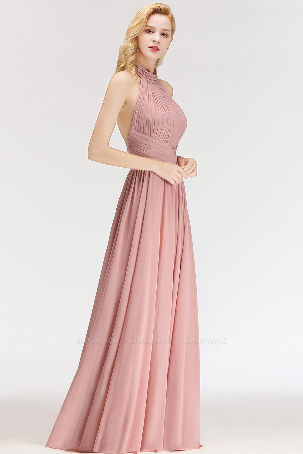 Bmbridal Gorgeous High Neck Halter Backless Bridesmaid Dress Dusty Rose Chiffon Maid Of Honor Dress Backless Bridesmaid Dress Dusty Rose Dress Maid Of Honour Dresses