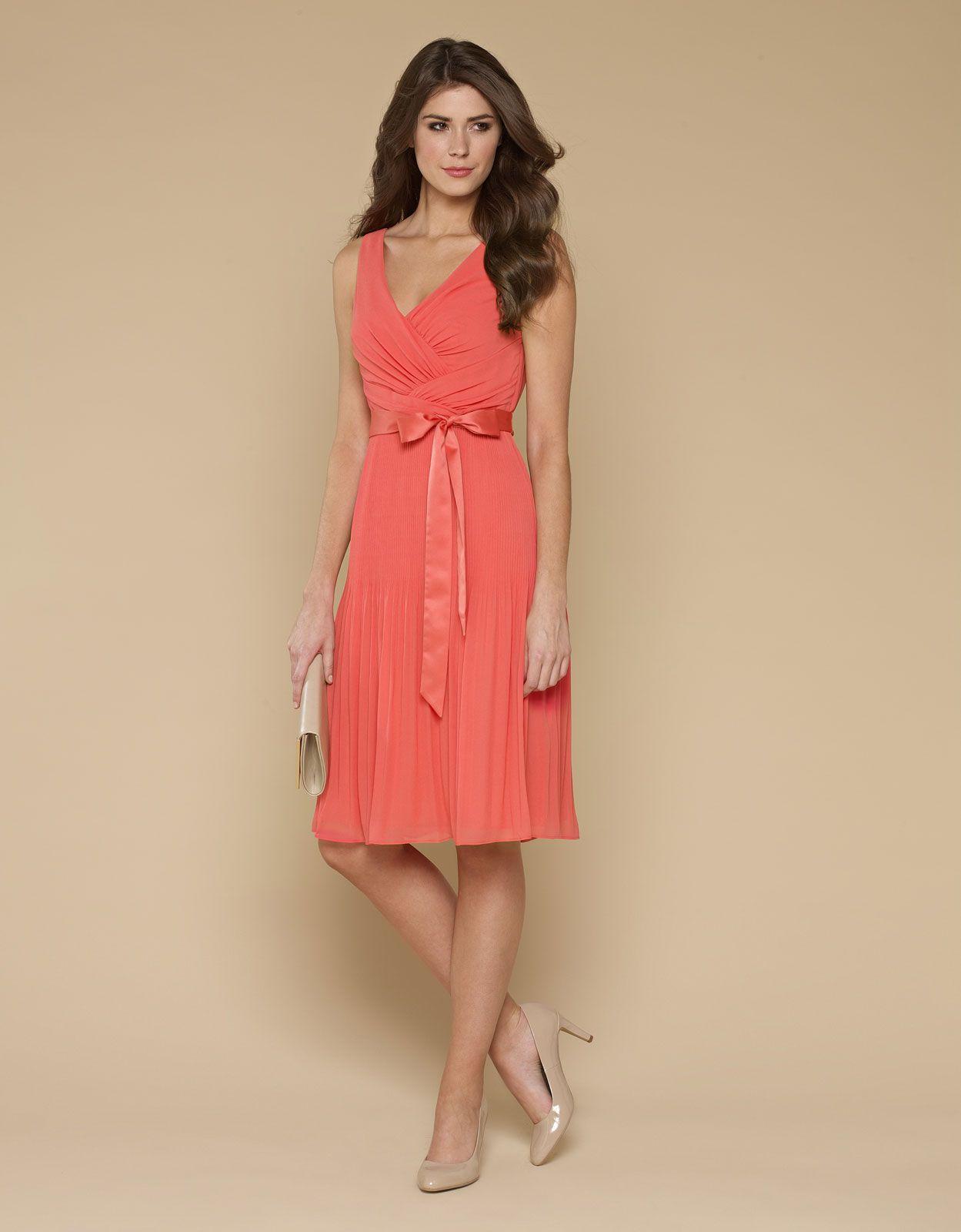 eb7a0f2ec33a Ville Coral Pleat Dress | Clothes | Coral dress wedding, Monsoon ...