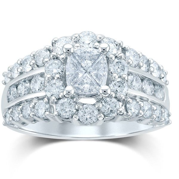2 CT. T.W. Fancy-Cut Diamond 14K White Gold Ring ($4,125) ❤ liked on Polyvore featuring jewelry and rings