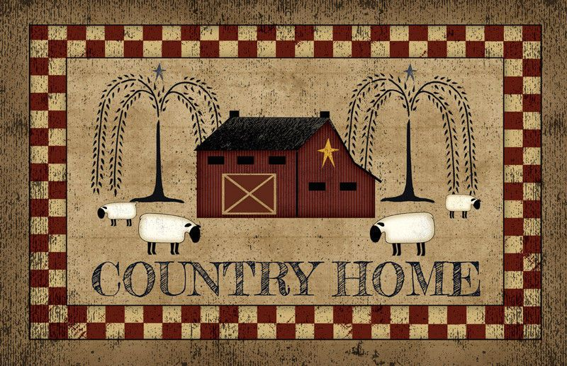 Country Primitive Folk Art Home Sheep Willow Tree Barn Floor Rug Mat