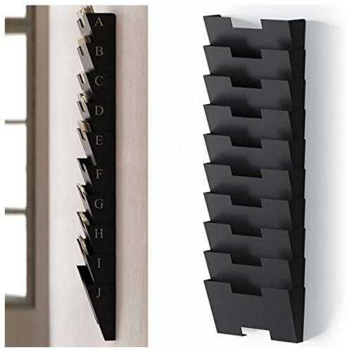 Black Wall Mount Steel File Holder Organizer Rack 10 Sectional Modular Design Wider Than Letter Siz Wall File Holder Wall File File Holder
