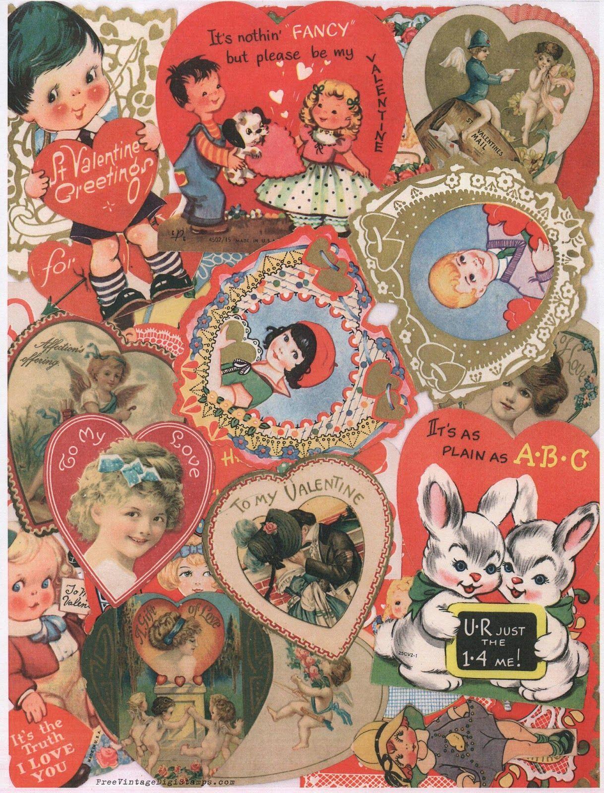 FREE ViNTaGE DiGiTaL STaMPS Free Printable  Vintage Valentine