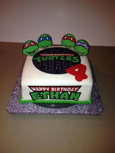 Ninja Turtle Birthday With Images Ninja Turtle Birthday Cake
