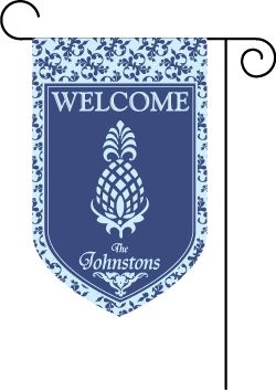 Pineapple Blue Name Welcome Garden Flag : Personalized Gifts - Preppy Monogrammed Gifts @ 2PreppyGirls.com