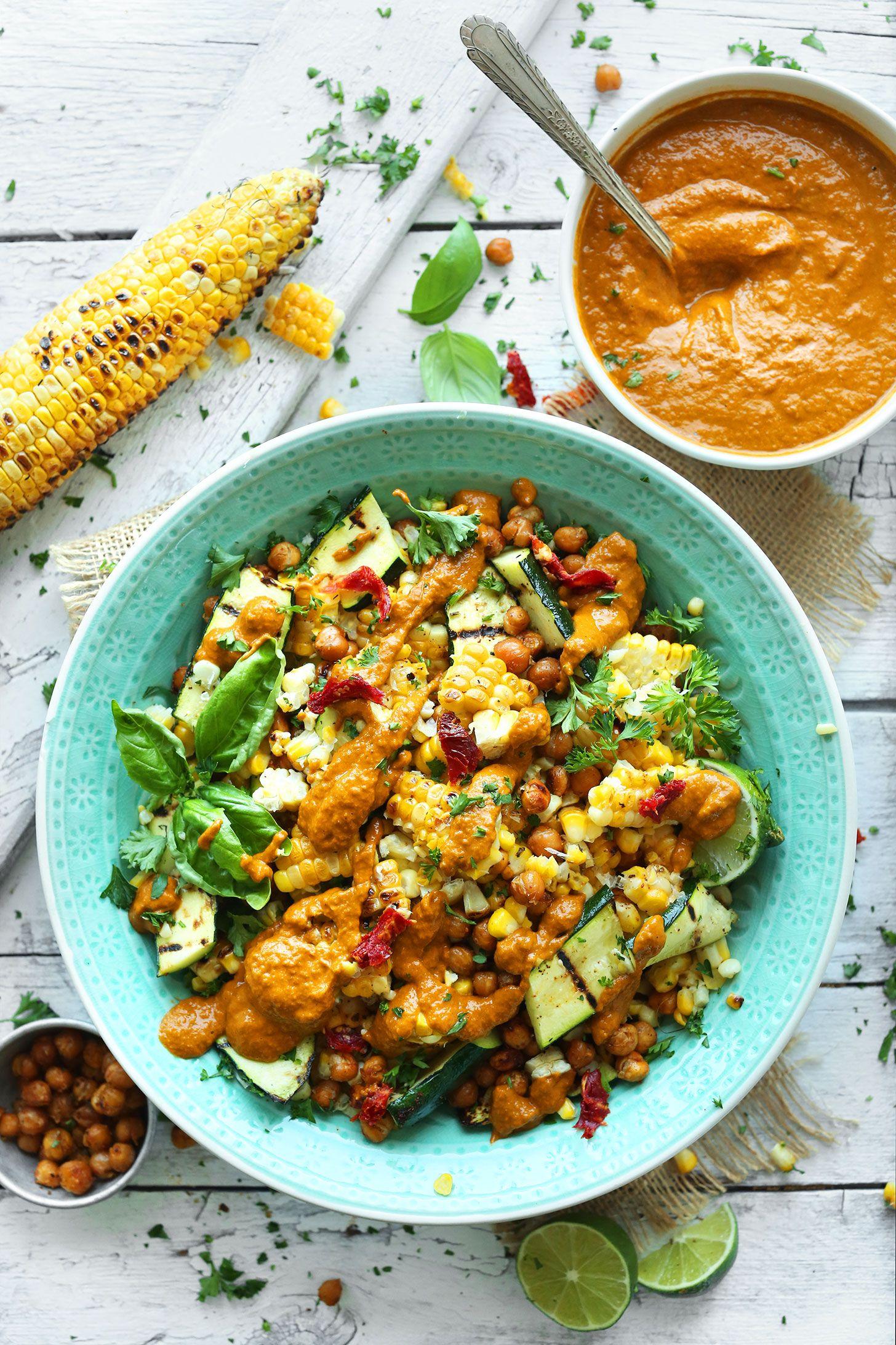 Grilled Corn & Zucchini Salad with Sun-Dried Tomato Vinaigrette SUMMERY 30-minute Zucchini & Grilled Corn Salad with crispy chickpeas and Sun-Dried Tomato Vinaigrette!