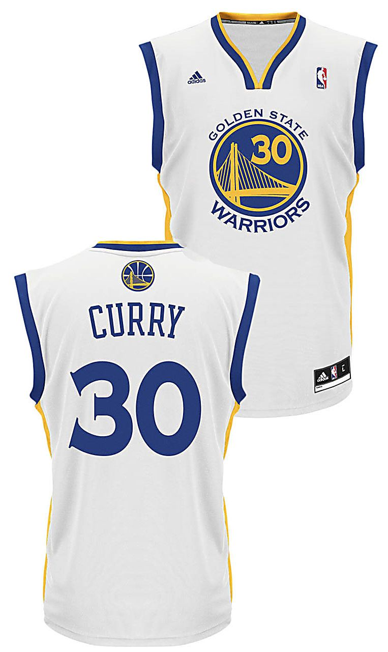 Stephen Curry Youth Golden State Warriors White Replica Basketball Jersey  $49.95