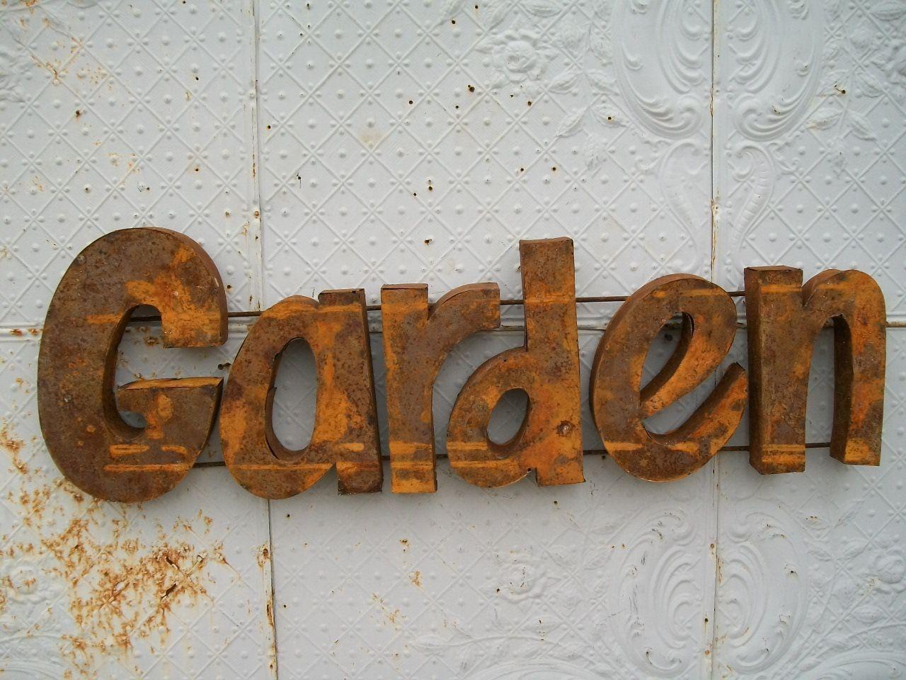 Metal garden wall art - Rusty Metal 3d Garden Sign Decorative Wall Art