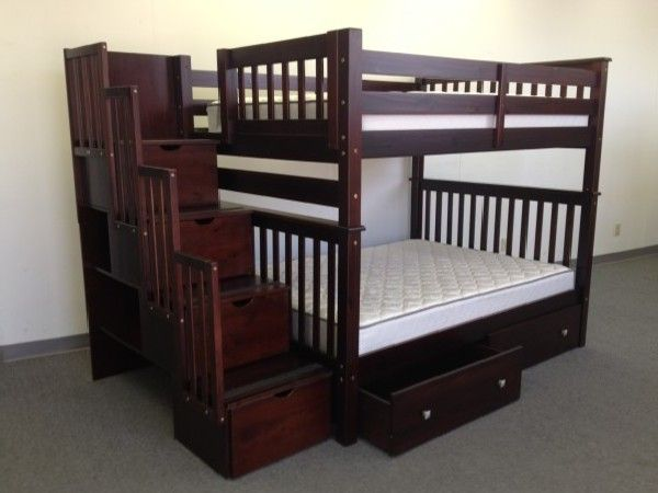 Bunk Beds Full Over Stairway Cuccino 2 Extra Drawers