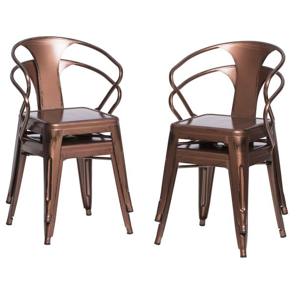 brushed copper tabouret stacking chairs set of 4 kitchen