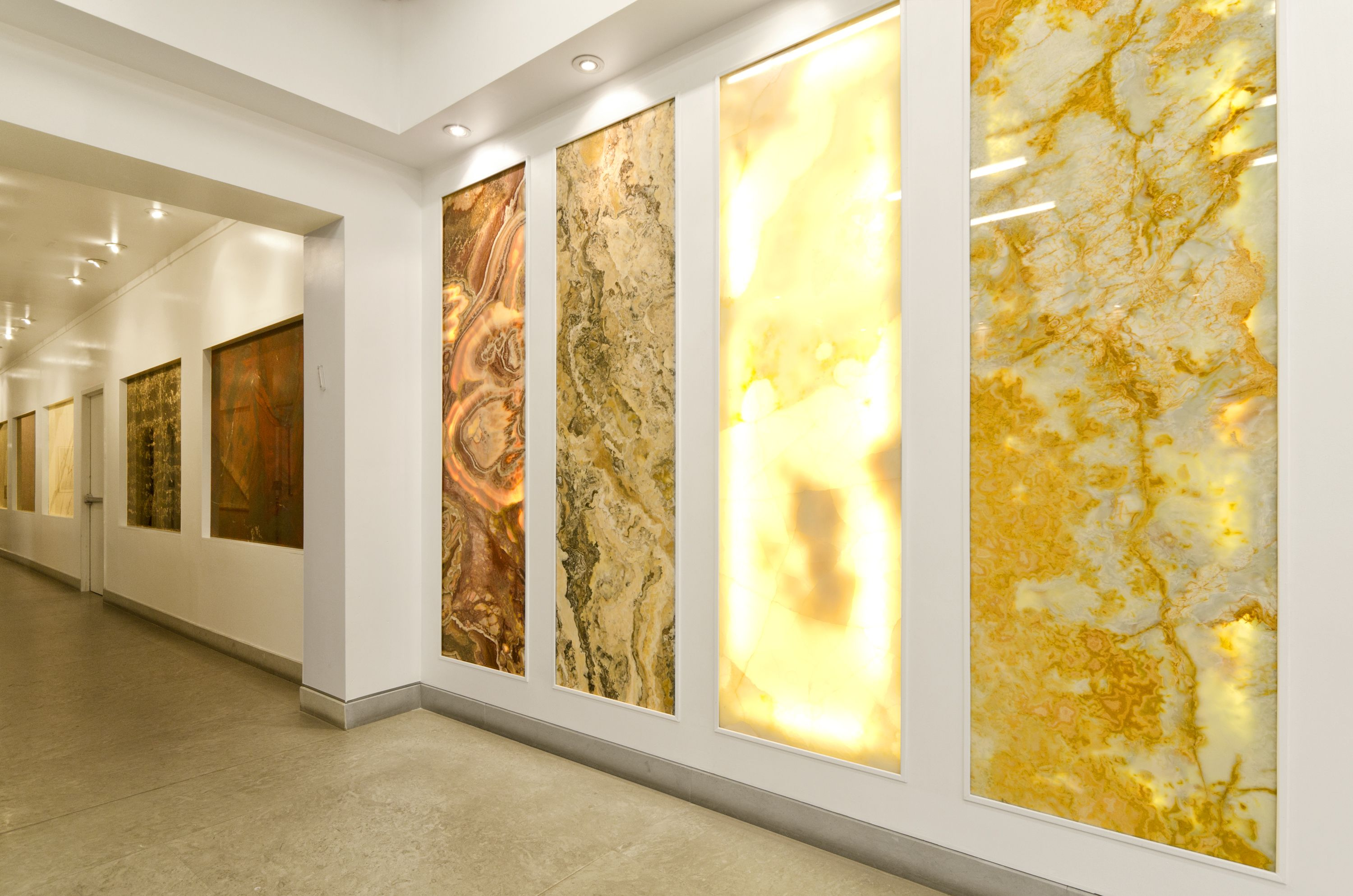 Back-lit onyx panels | Products I Love | Showroom design ...