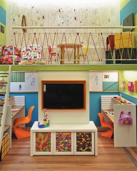 Okay so I don't have a loft space and my kid would totally destroy himself trying to get between those rails up there... but I like some of the other ideas in this room!