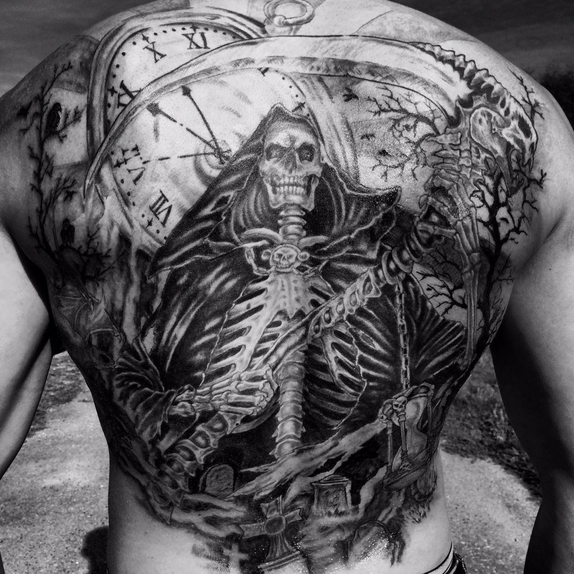 Backtattoo reaper time clock pocketwatch demons demon