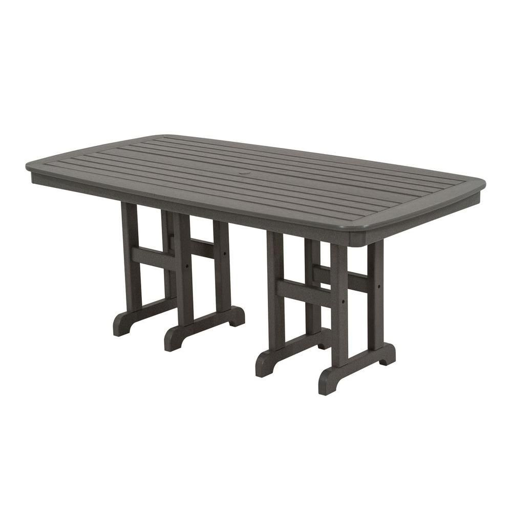 Polywood Nautical 37 In X 72 In Slate Grey Plastic Outdoor Patio