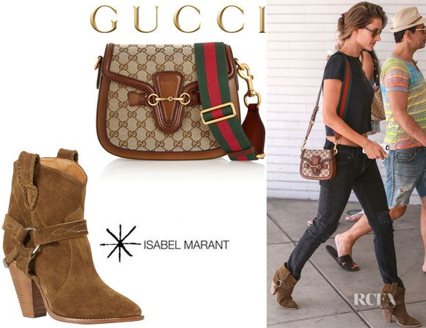 b8d1aa7a1aea Alessandra Ambrosio's Gucci 'Lady Web GG' Canvas Bag And Étoile Isabel  Marant 'Rawson' Harness Boots