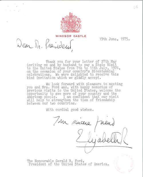 Letter from queen elizabeth ii accepting president fords invitation letter from queen elizabeth ii accepting president fords invitation to make a state visit to the united states july 7 11 1976 for americas bicentennial stopboris Choice Image
