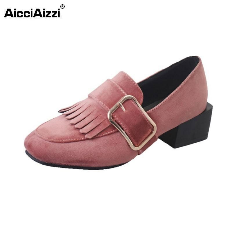 Vintage Lady High Heel Shoes Women Buckle Tassel Thick Heels Pumps Square Toe Party Vacation Leisure Female Footwears Size 35-39