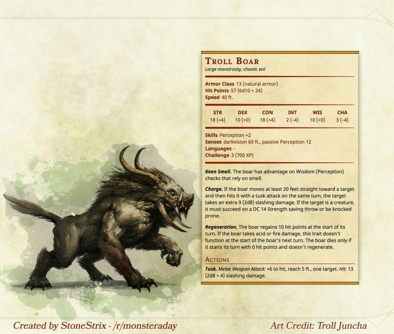 Troll Boar Homebrew Pinterest Dnd Monsters Dnd 5e Homebrew