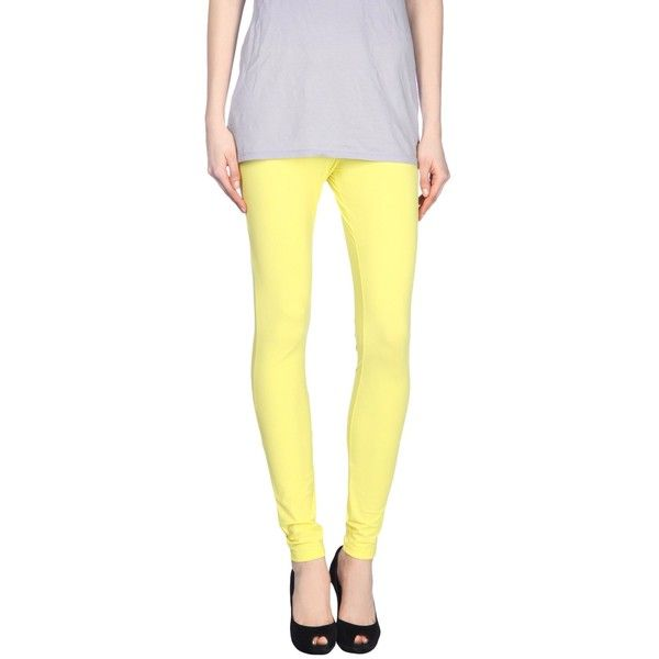 Maison Margiela 4 Leggings ($101) ❤ liked on Polyvore featuring pants, leggings, yellow, yellow jersey, legging pants, jersey pants, pocket leggings and pocket pants